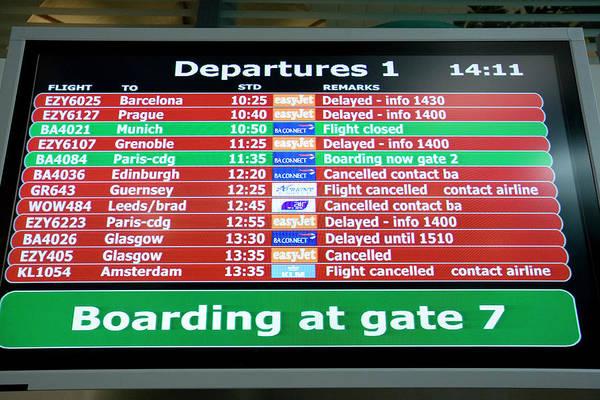 Notice Board Photograph - Departures Board by Adam Hart-davis/science Photo Library