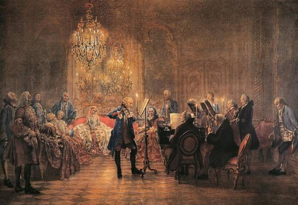 Illumination Painting - depicting a flute concert of Frederick the Great by Adolf von Menzel
