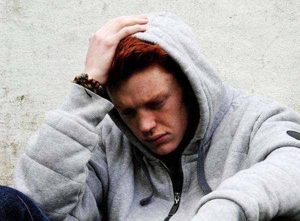 Sweatshirt Wall Art - Photograph - Depressed Teenager by Cordelia Molloy