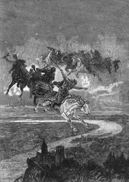 Wall Art - Drawing - 'der Weg Des Csaba' - Magyar Horsemen by Mary Evans Picture Library