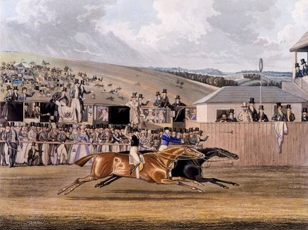 Equestrian Drawing - Derby Day At Epsom, 1828 by James Pollard