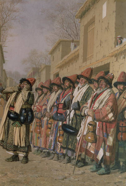 Muslim Photograph - Dervishes Chorus Begging Alms In Tashkent, 1870 Oil On Canvas by Piotr Petrovitch Weretshchagin