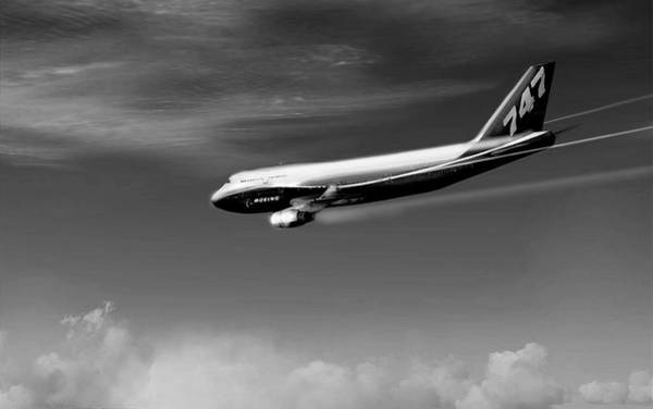 Jetblue Wall Art - Digital Art - Descending - Boeing 747 by Marcello Cicchini