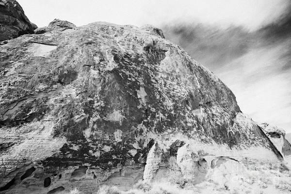 Desert Varnish Photograph - Desert Black Varnish And Petroglyphs On Large Sandstone Rock Valley Of Fire State Park Nevada Usa by Joe Fox