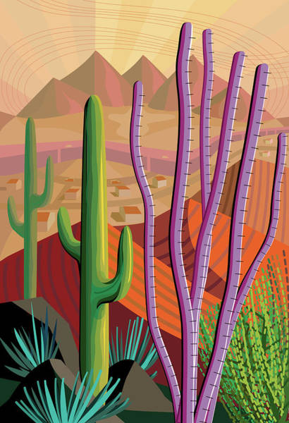 Harker Photograph - Desert, Cactus, Mountains Landscape by Charles Harker