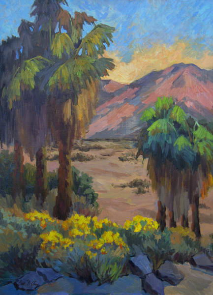 Wall Art - Painting - Desert Marigolds At Andreas Canyon by Diane McClary