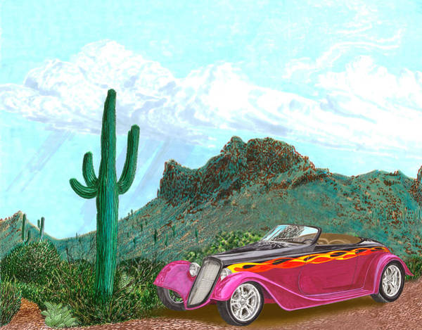 Classic Car Drawings Painting - Desert Roadster 34 Ford by Jack Pumphrey