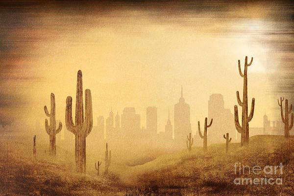 Highrise Digital Art - Desert Skyline by Peter Awax