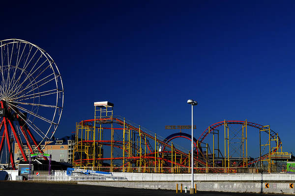Photograph - Deserted Ocean City Amusement Pier Blue Sky by Bill Swartwout Photography