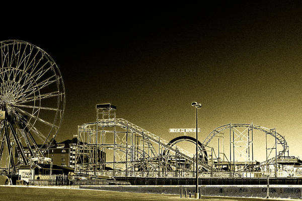 Photograph - Deserted Ocean City Amusement Pier Painted Gold by Bill Swartwout Photography