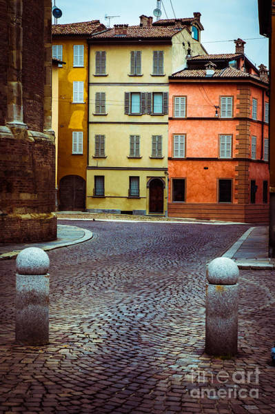 Wall Art - Photograph - Deserted Street With Colored Houses In Parma Italy by Silvia Ganora