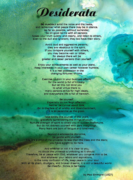 Motivational Painting - Desiderata 2 - Words Of Wisdom by Sharon Cummings