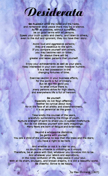 Poetry Painting - Desiderata 3 - Words Of Wisdom by Sharon Cummings