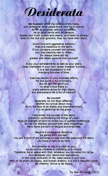 Poem Painting - Desiderata 3 - Words Of Wisdom by Sharon Cummings
