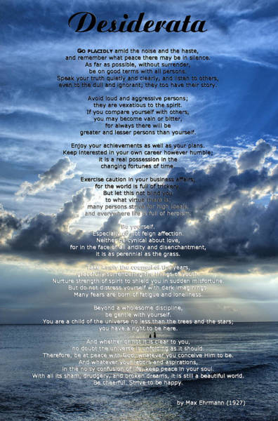 Poetry Painting - Desiderata 7 - Inspirational Art By Sharon Cummings by Sharon Cummings
