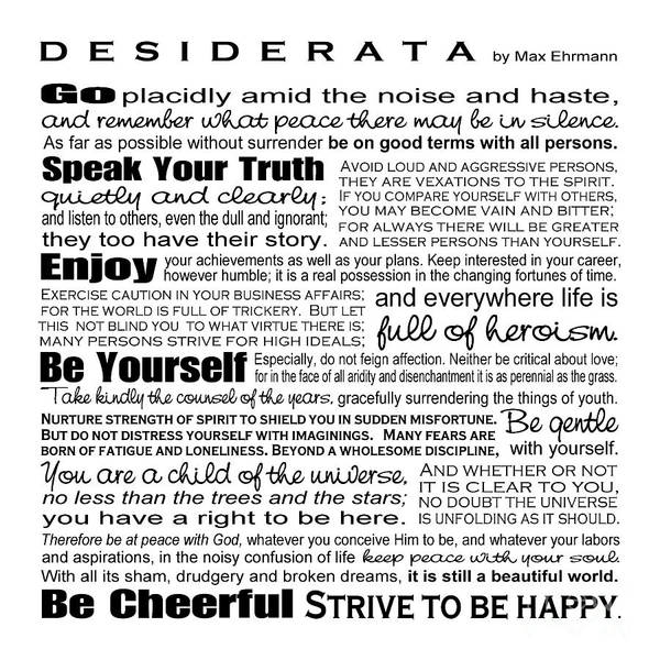 Wall Art - Digital Art - Desiderata - Black And White Square by Ginny Gaura