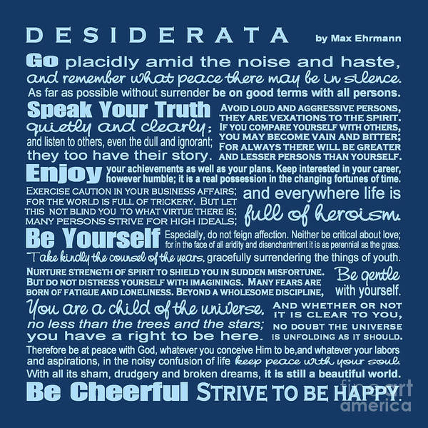 Wall Art - Digital Art - Desiderata - Blue by Ginny Gaura