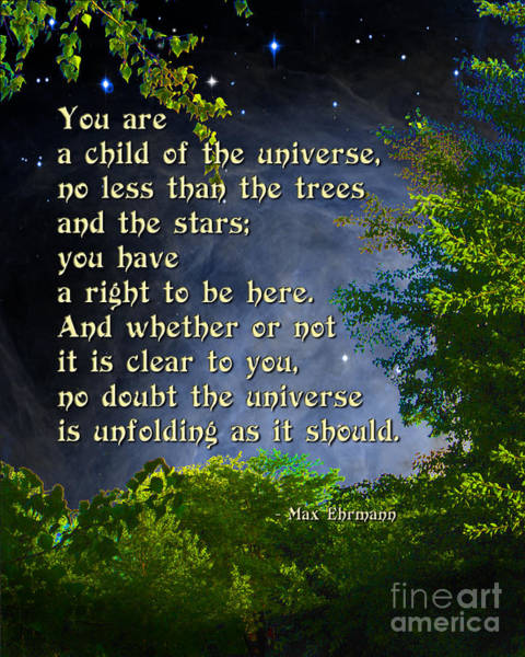 Wall Art - Photograph - Desiderata - Child Of The Universe - Trees by Ginny Gaura