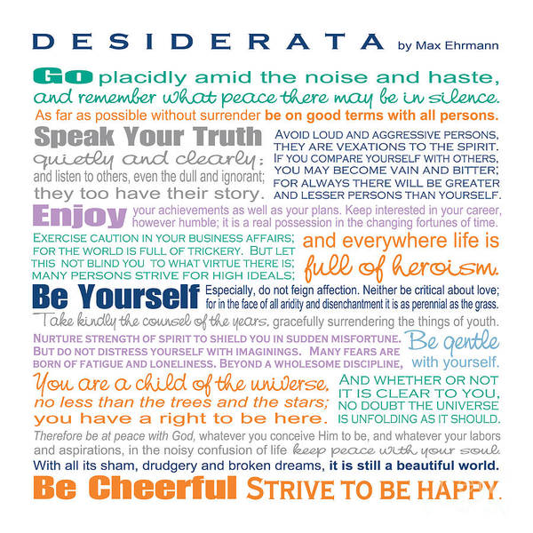 Typographic Wall Art - Digital Art - Desiderata - Multi-color - Square Format by Ginny Gaura