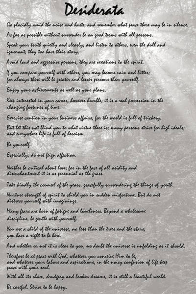 Photograph - Desiderata by Wes and Dotty Weber
