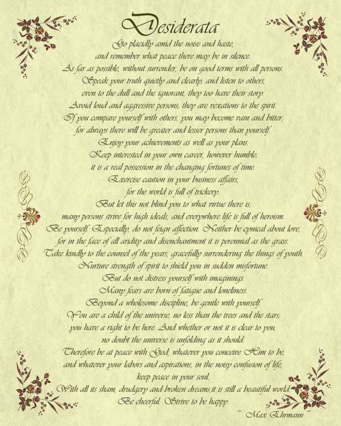 Desiderata Gold Bond Scrolled Art Print