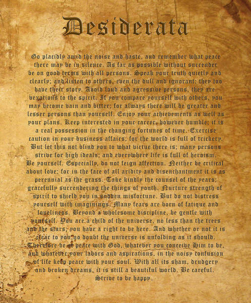Best Seller Photograph - Desiderata by Kurt Van Wagner