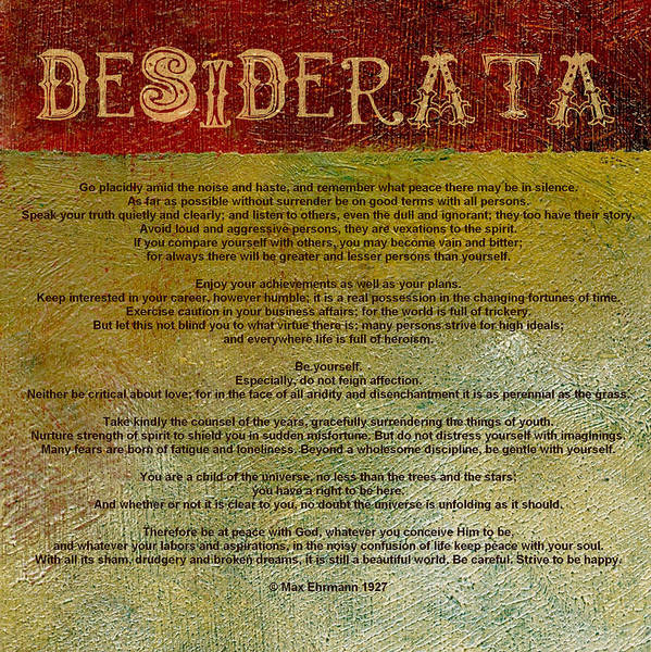 Words Digital Art - Desiderata by Michelle Calkins