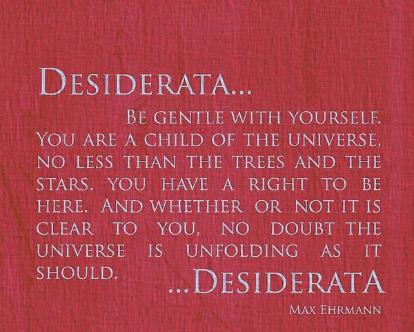 Wall Art - Mixed Media - Desiderata On Red Canvas by Dan Sproul