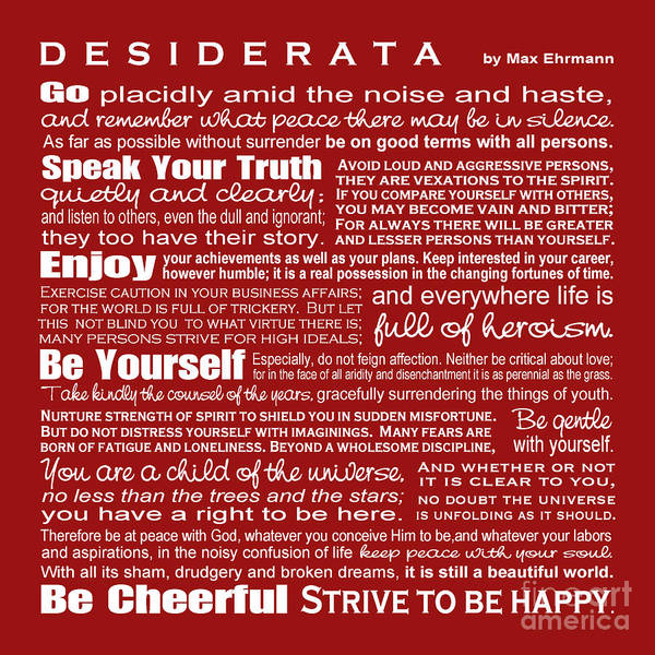 Wall Art - Digital Art - Desiderata - Red by Ginny Gaura