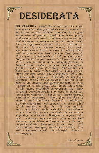 Respect Digital Art - Desiderata by Ron Haist