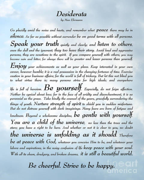 Wall Art - Digital Art - Desiderata - Sky Design by Ginny Gaura