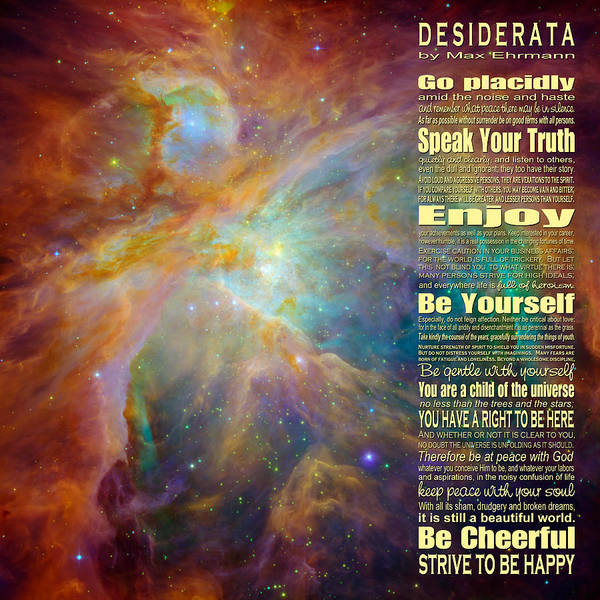 Wall Art - Digital Art - Desiderata - Space by Ginny Gaura