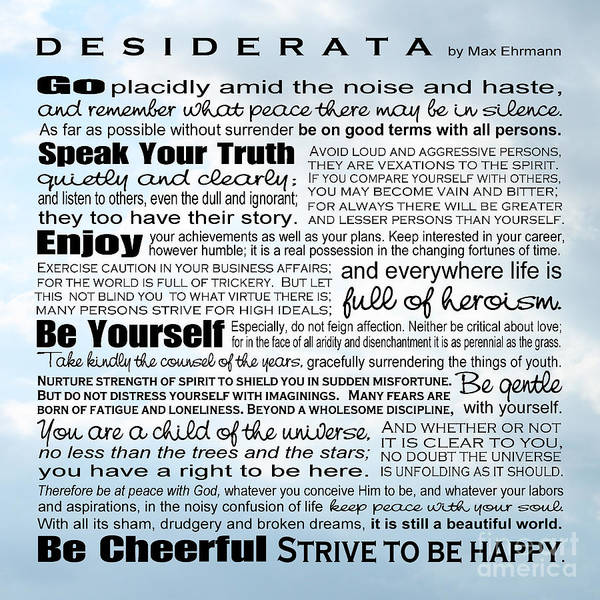 Wall Art - Digital Art - Desiderata - Square Sky by Ginny Gaura