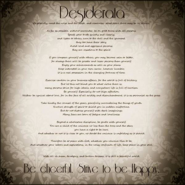 Quotation Photograph - Desiderata - Vintage Sepia by Marianna Mills