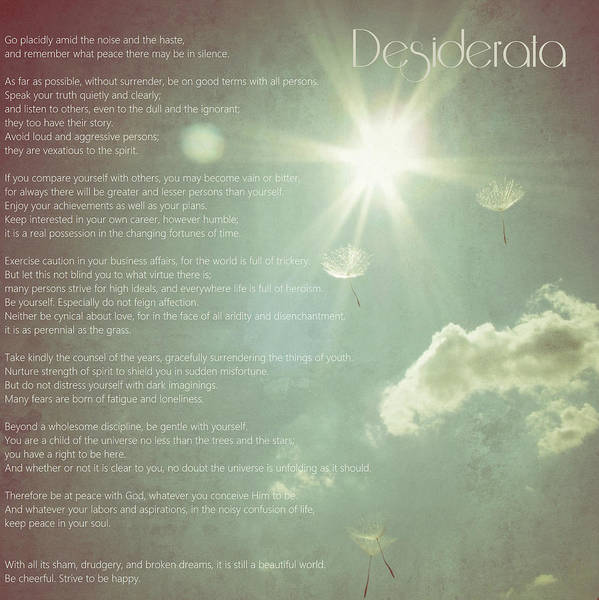 Quotation Photograph - Desiderata Wishes by Marianna Mills