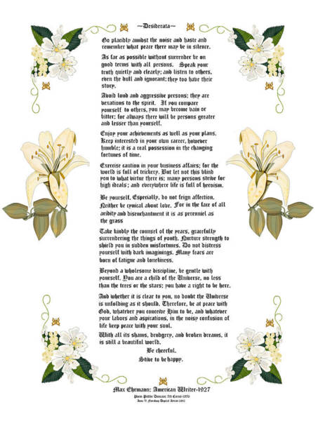 Wall Art - Painting - Desiderata With Art by Anne Norskog