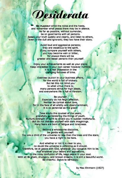 Poem Painting - Desiderata - Words Of Wisdom by Sharon Cummings