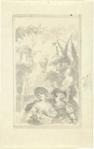 1715 Drawing - Design For A Hall Piece Boy And Girl With Flower Basket by Quint Lox