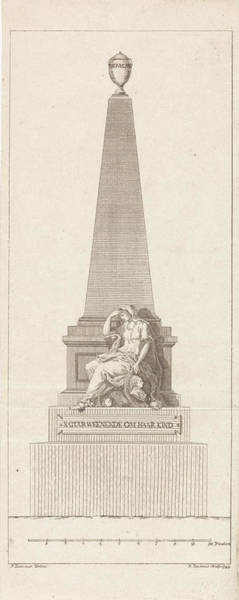 Allegorical Figure Drawing - Design For A Headstone In Memory Of Pieter Nieuwland by R. Ziesenis