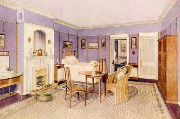 Bedroom Drawing - Design For The Interior Of A Bedroom by Richard Goulburn Lovell
