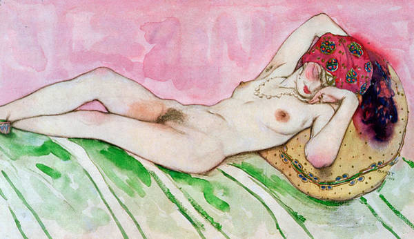 Sensual Drawing - Design For The Red Sultana by Leon Bakst