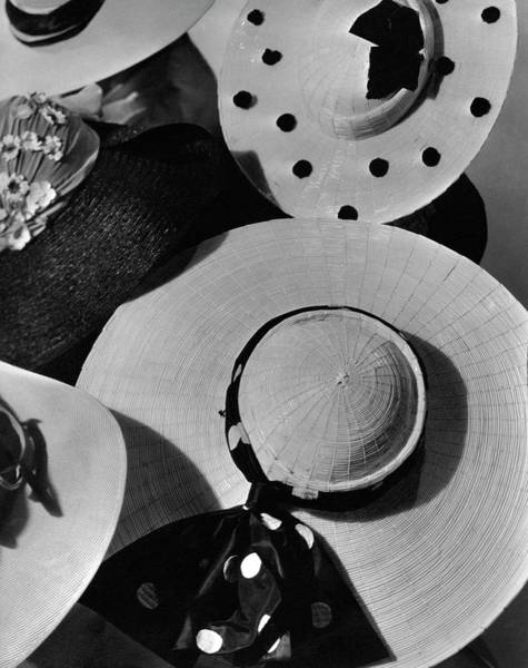 From Above Wall Art - Photograph - Designer Cartwheel Hats by Horst P. Horst