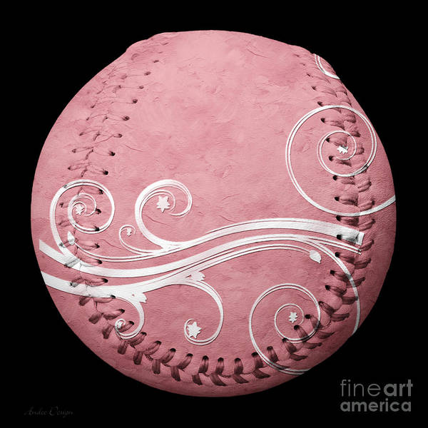 Mixed Media - Designer Pink Baseball Square by Andee Design