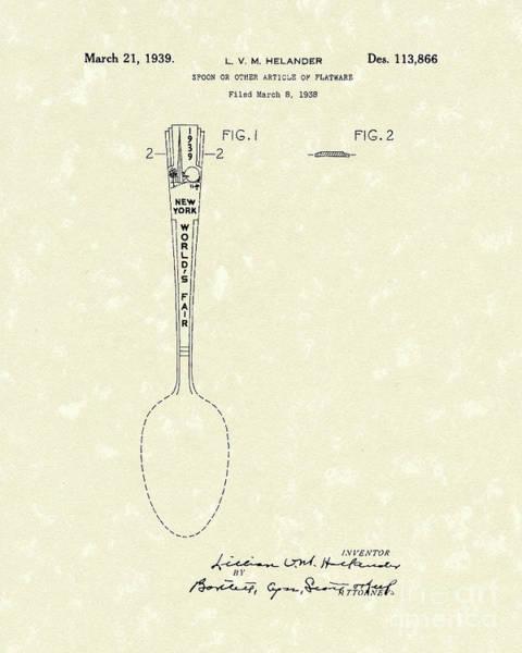 Photograph - Designer Spoon 1939 Patent Art by Prior Art Design