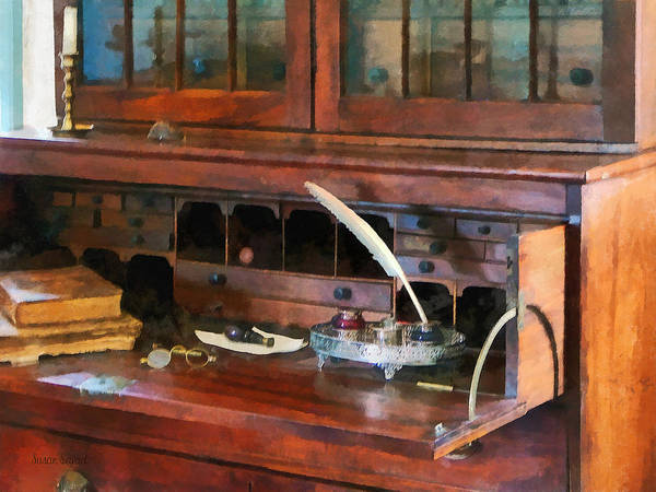 Photograph - Desk With Quill And Books by Susan Savad