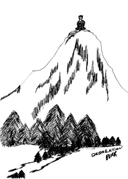 Evergreen Trees Drawing - Desolation Peak_alone Time by Donna Haggerty