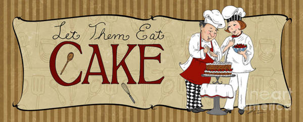 Fat Mixed Media - Desserts Kitchen Sign-cake by Shari Warren