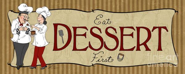 Fat Mixed Media - Desserts Kitchen Sign-dessert by Shari Warren
