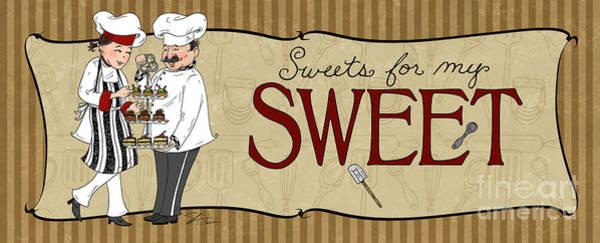 Fat Mixed Media - Desserts Kitchen Sign-sweet by Shari Warren