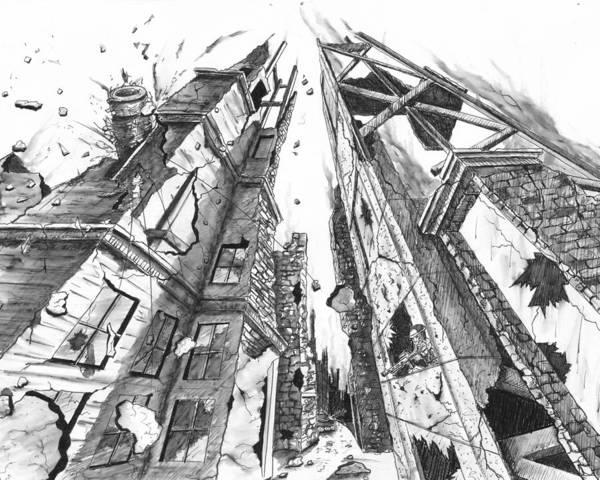 Crumble Drawing - Destruction by Dana Alfonso